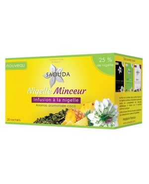 NIGELLE MINCEUR: INFUSION A LA NIGELLE / THE VERT / ANANAS / AROMATISEE COCO SAOUDA 20 SACHETS