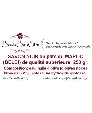SAVON NOIR EN PATE DU MAROC (BELDI) QUALITE SUPERIEURE 250 GR