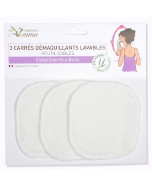 LOT DE 3 DEMAQUILLANTS LAVABLES MATIERE EUCALYPTUS LES TENDANCES D'EMMA