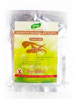 """COLORATION VEGETALE NATURELLE CHATAIN CLAIR """"NATURAL HAIR DYE - LIGHT BROWN"""" D'INDE YOGI GLOBALS 100 G"""