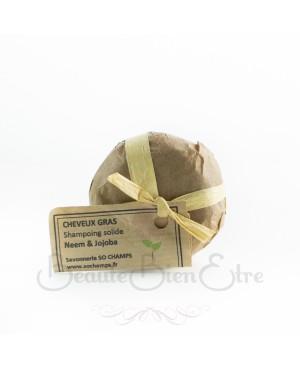 SHAMPOING SOLIDE CHEVEUX GRAS ARTISANAL ET 100% NATUREL NEEM & JOJOBA SO CHAMPS