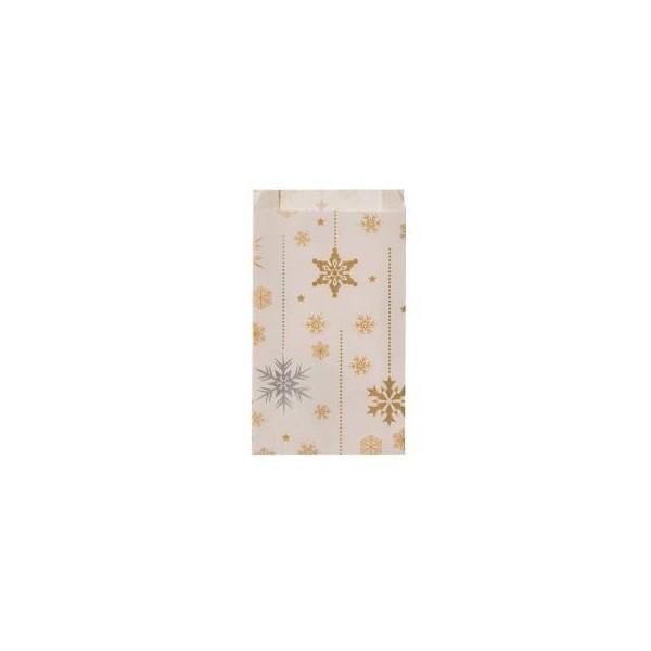 acheter petite pochette cadeau blanche flocons or argent emballage papier 18 x 6 x 35 cm. Black Bedroom Furniture Sets. Home Design Ideas