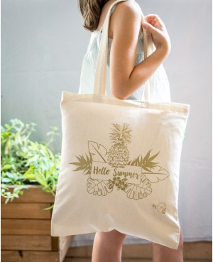 SUMMER BAG 100% COTTON COULEUR NATURE & DORÉ (TOTE BAG) HELLO SUMMER BY BBE