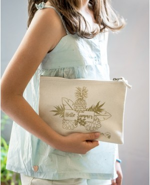 POCHETTE 100% COTTON COULEUR NATURE & DORÉ HELLO SUMMER BY BBE