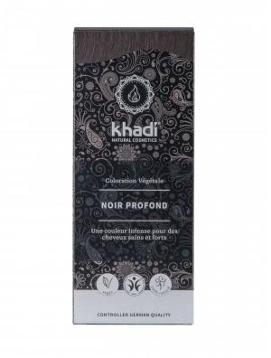 COLORATION VÉGÉTALE KHADI (HENNÉ & PLANTES AYURVÉDIQUES) NOIR PROFOND D'INDE BIO (BDIH 100 G