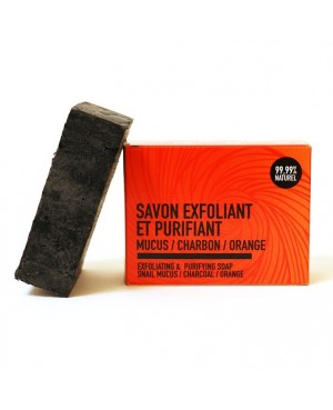 SAVON SAF ARTISANAL ET 99.99% NATUREL MUCUS D'ESCARGOT/CHARBON/ORANGE EXFOLIANT & PURIFIANT CURAE 100 G
