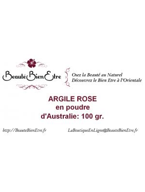 ARGILE ROSE EN POUDRE D'AUSTRALIE BBE BEAUTE BIEN ETRE 100 G